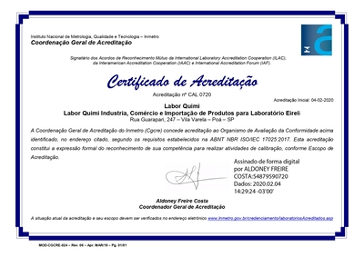 Certificado Acreditação